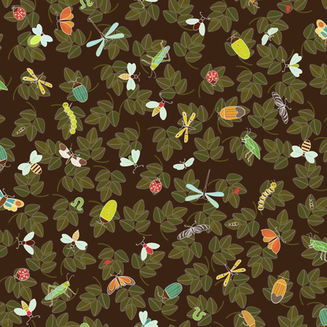 Ditsy Insects - dark fabric by kayajoy on Spoonflower - custom fabric