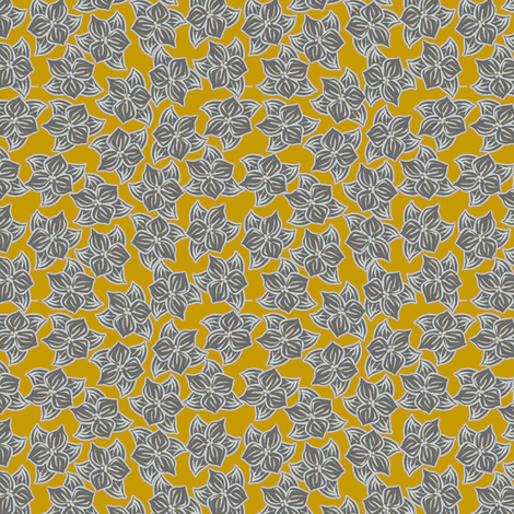 Trilliated in Grey and Meyer's Lemon fabric by glimmericks on Spoonflower - custom fabric