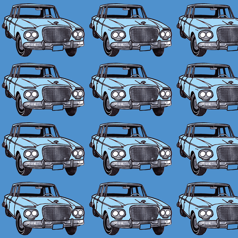 light blue double headlight Studebaker Lark on med blue fabric by edsel2084 on Spoonflower - custom fabric