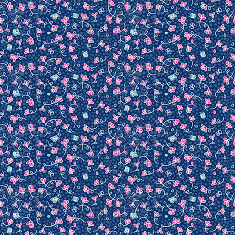ditsy flowers on blue fabric by juliannlaw on Spoonflower - custom fabric