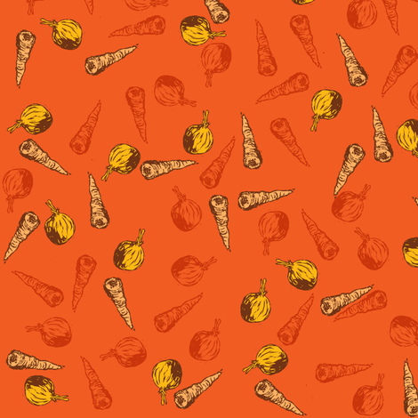Carrot and Onion Soup (Orange) fabric by woodledoo on Spoonflower - custom fabric