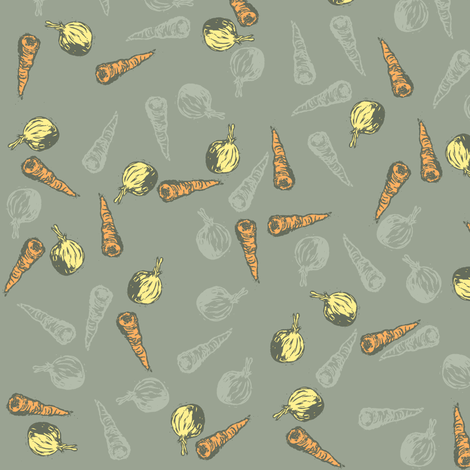 Carrot and Onion Soup (Grey) fabric by woodle_doo on Spoonflower - custom fabric