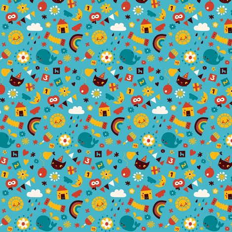 Happy Birthday! (light blue) fabric by bora on Spoonflower - custom fabric