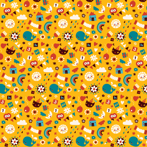Happy Birthday! (Yellow) fabric by bora on Spoonflower - custom fabric