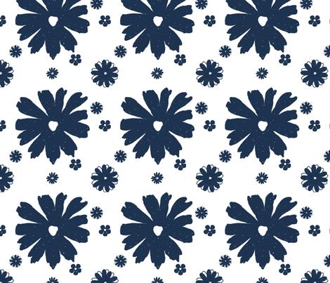 Flowers Indigo fabric by christiem on Spoonflower - custom fabric