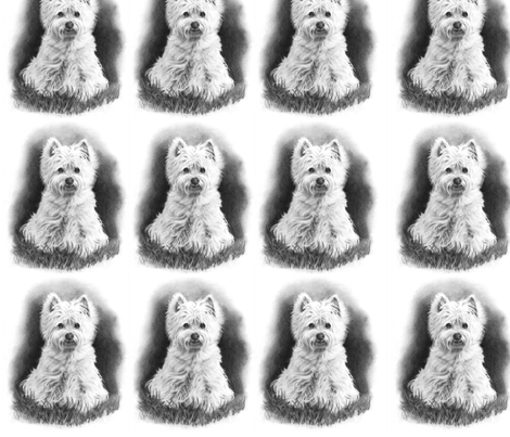 Pencil Drawing: West Highland Terrier fabric by joyart on Spoonflower - custom fabric