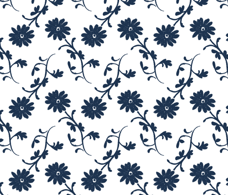 Tossed Flowers Indigo fabric by christiem on Spoonflower - custom fabric