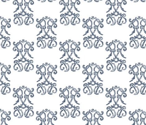Indigo Damask fabric by christiem on Spoonflower - custom fabric