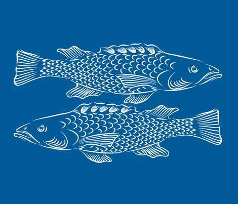 Northeren Fish on Blue fabric by dianne_annelli on Spoonflower - custom fabric