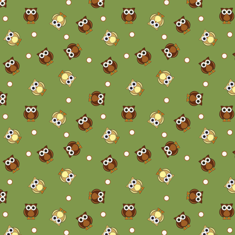 Ditsy Owls fabric by jsdesigns on Spoonflower - custom fabric