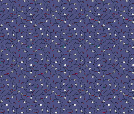 Royal Blue Floral fabric by pond_ripple on Spoonflower - custom fabric
