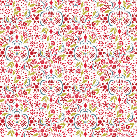 kantha in bloom fabric by kathleenm on Spoonflower - custom fabric