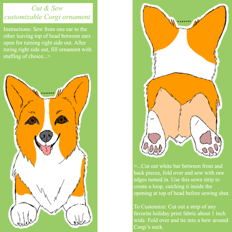 ©2011 Customizable Cut & Sew Corgi Ornament fabric by rusticcorgi on Spoonflower - custom fabric