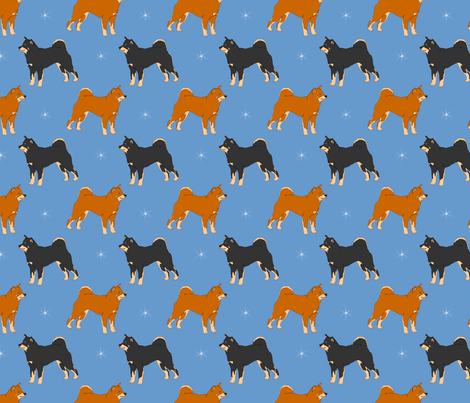 Shiba inus and night stars fabric by rusticcorgi on Spoonflower - custom fabric