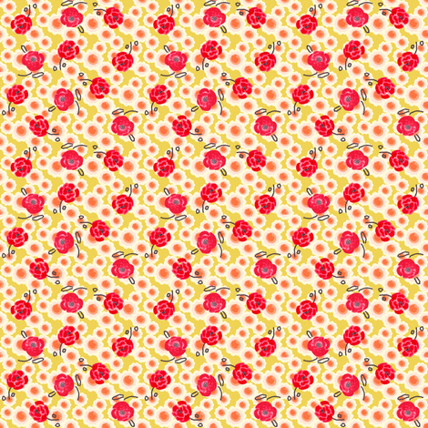 Poppies Ditsy Print fabric by joybucket on Spoonflower - custom fabric