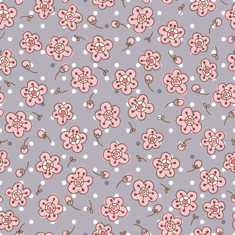 Ditsy Doodle Sakura fabric by cynthiafrenette on Spoonflower - custom fabric