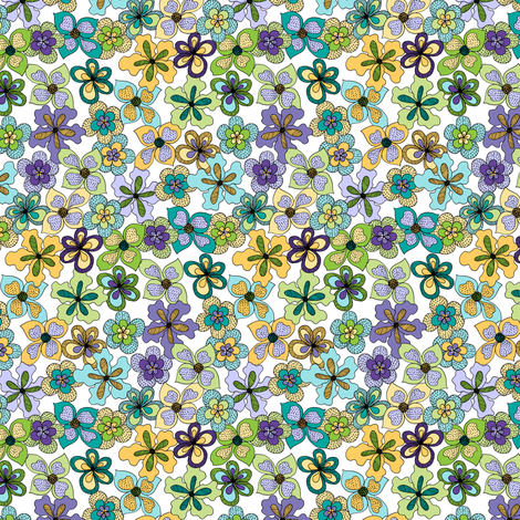 Funky Fantasy Flowers - Cool Spring on White (Ditsy) fabric by rhondadesigns on Spoonflower - custom fabric