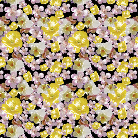 Pretty Bright on Black (ditsy) fabric by petalsfair on Spoonflower - custom fabric