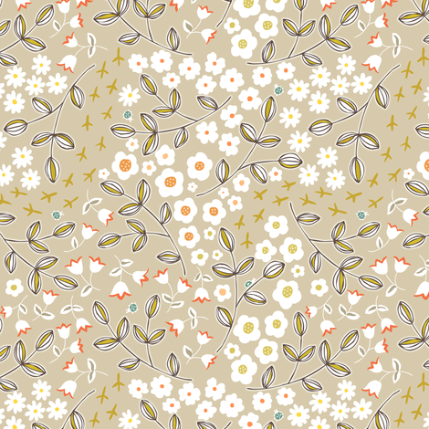 Ditsy Natural fabric by pattysloniger on Spoonflower - custom fabric