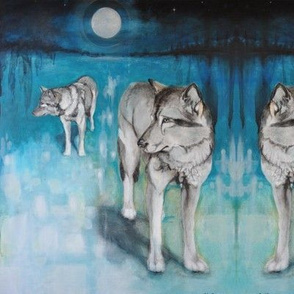 wolves on a full moon