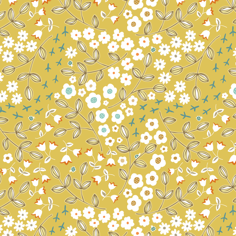 Ditsy Mustard fabric by pattysloniger on Spoonflower - custom fabric