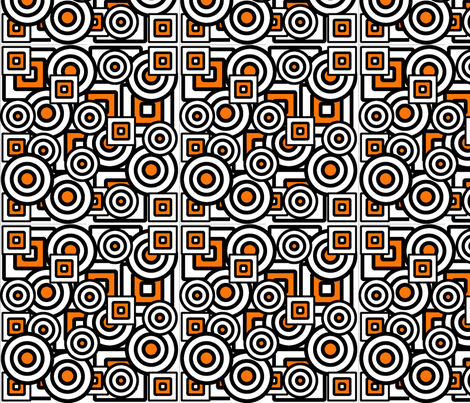 Dizzy Circles and Quirky Squares with orange. fabric by minniemeatdaydreamstudio on Spoonflower - custom fabric