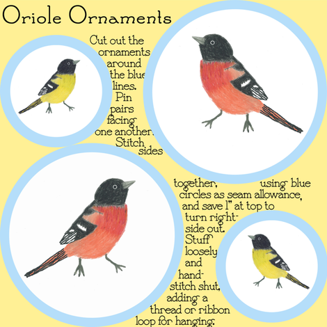 Rainbow Oriole ornaments fabric by chickie on Spoonflower - custom fabric