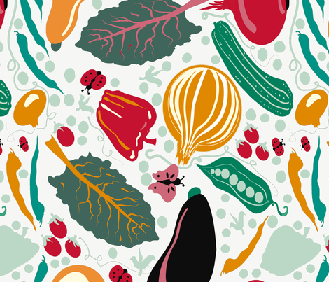 Summer garden veggies on white fabric by eyecontact on Spoonflower - custom fabric