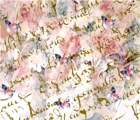 French Script, butterfiles and roses fabric by karenharveycox on Spoonflower - custom fabric