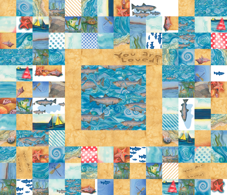 "42"" wide Boys ""You Are Loved"" Cheater Quilt  fabric by twobloom on Spoonflower - custom fabric"