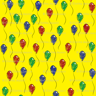 Doodle Bassets Balloons (Yellow)