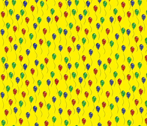 Doodle Bassets Balloons (Yellow) fabric by robyriker on Spoonflower - custom fabric