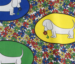 Doodle Bassets and Flowers - Colorful Tile