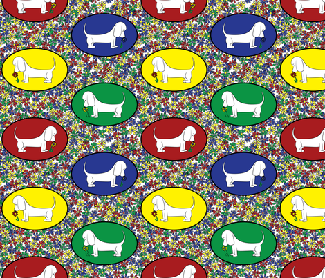 Doodle Bassets and Flowers - Colorful Tile fabric by robyriker on Spoonflower - custom fabric