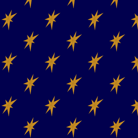 Golden Stars on Dark Blue