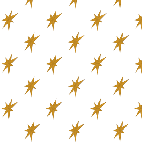 Golden Stars on White