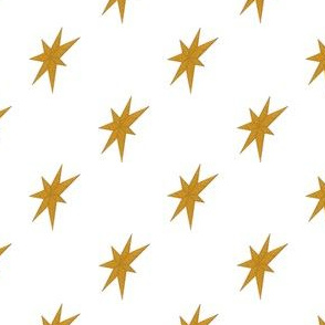 Golden Stars on White
