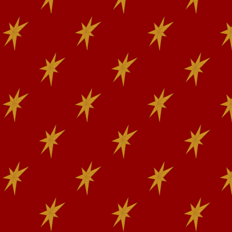 Golden Stars on Dark Red fabric by veritybrown on Spoonflower - custom fabric