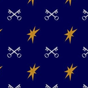 Stars and Keys on Dark Blue