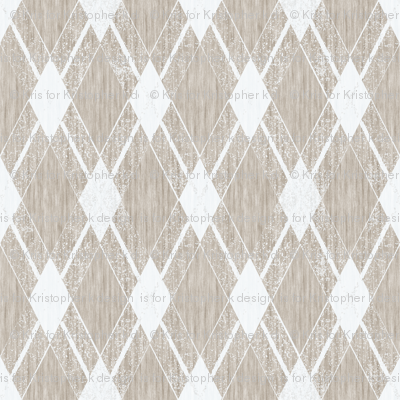 French Linen Diamonds - Antique White