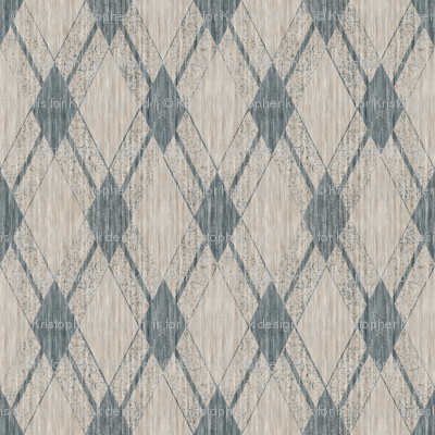 French Linen Diamonds - Antique Blue