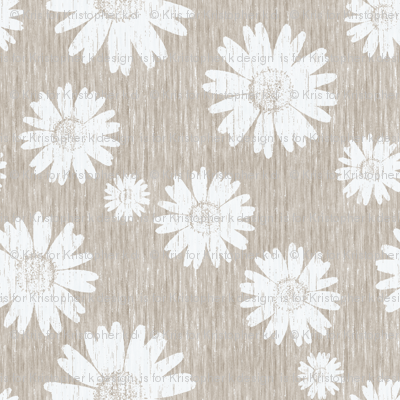 French Linen Daisy - Antique White