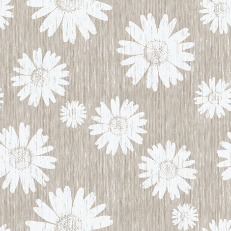 French Linen Daisy - Antique White fabric by kristopherk on Spoonflower - custom fabric
