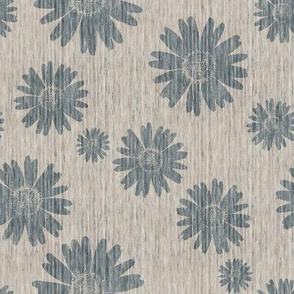 French Linen Daisy - Antique Blue