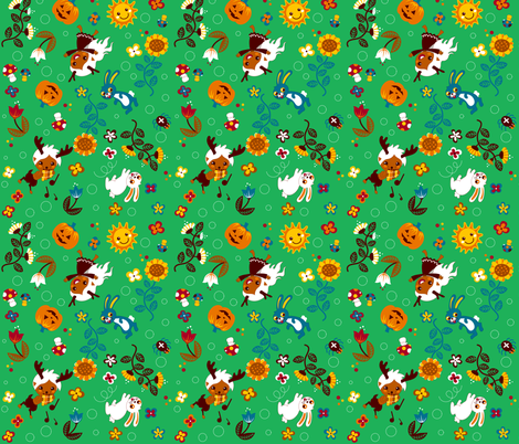 Ditsy creatures fabric by irrimiri on Spoonflower - custom fabric