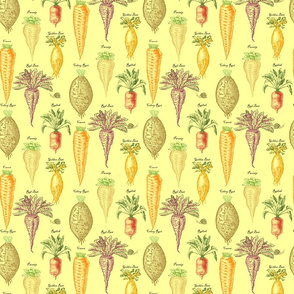 Root vegetables staggered on off white background