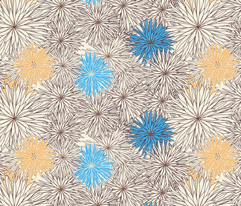 Brown, Blue, and Gold flowers fabric by meg56003 on Spoonflower - custom fabric