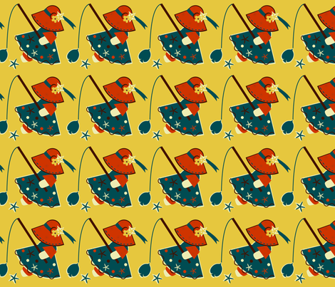 Little Red Fishing Hat fabric by eppiepeppercorn on Spoonflower - custom fabric
