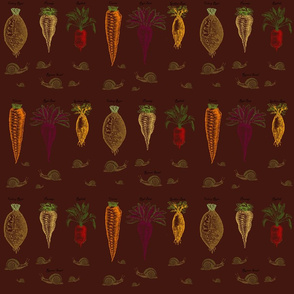Root Vegtables Snail pattern on brown background