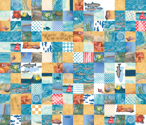 "Boys ""You Are Loved"" Cheater Quilt (repeating) fabric by twobloom on Spoonflower - custom fabric"